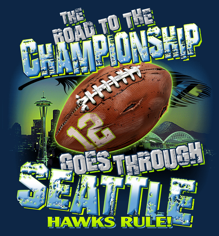 Seattle Seahawks NFC Champions 2015  Custom Printed T-Shirts