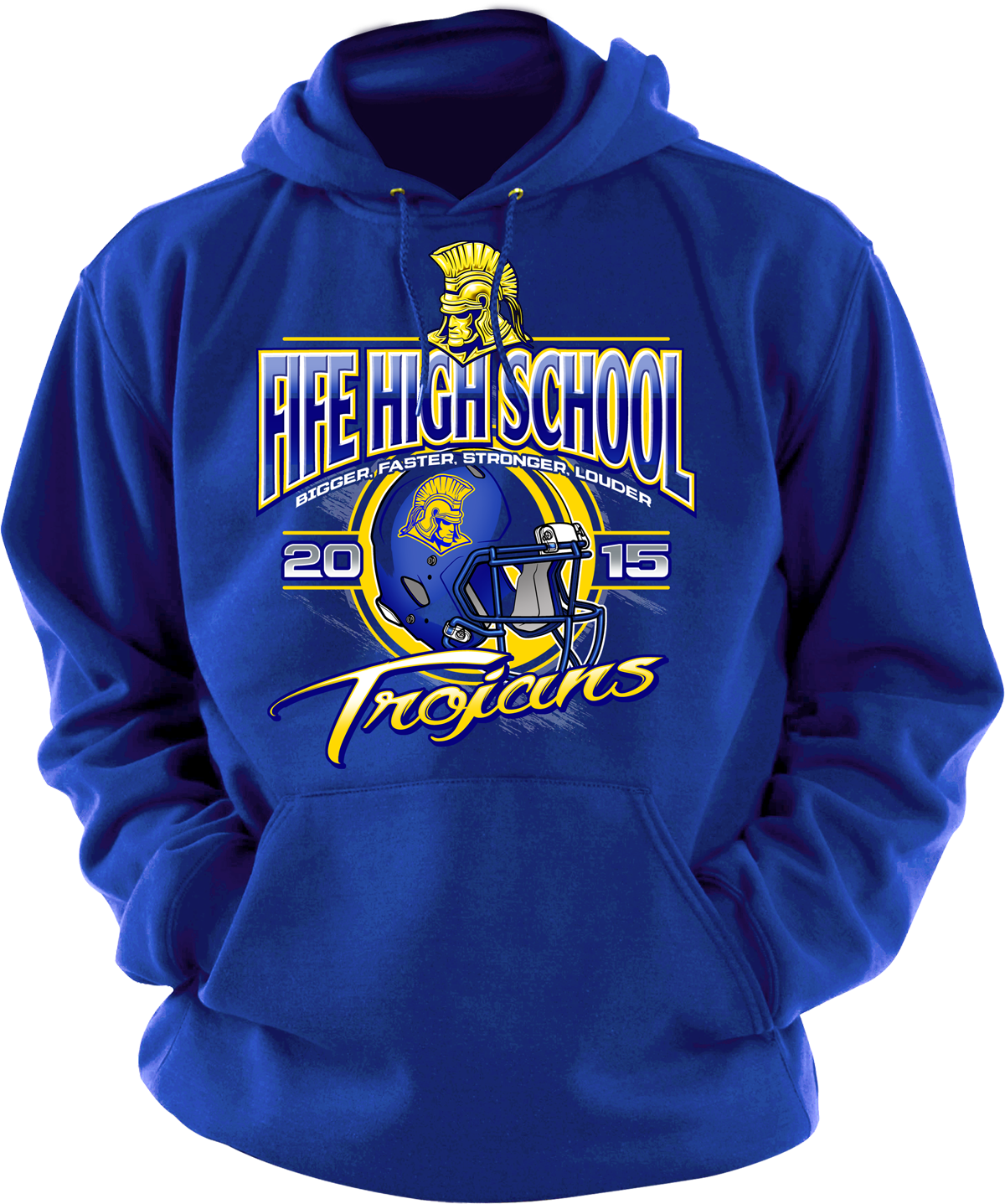 Heavyweight hoodie with an awesome Fife High School design on the front