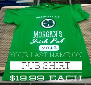 St. Patrick's Day Irish Pub Shirt Customized with your last name created by NW Custom Apparel. This t-shirt is 100% cotton.