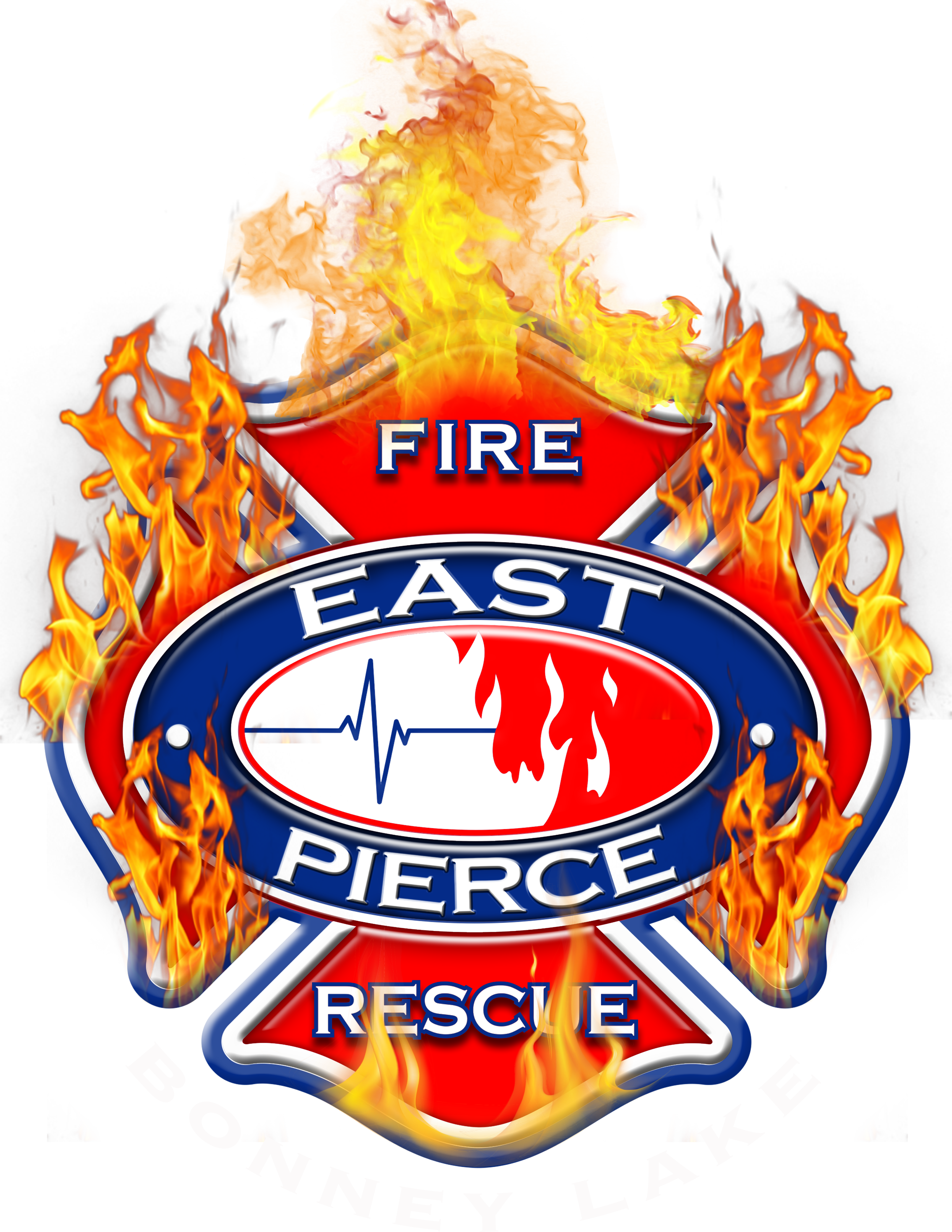 East Pierce Fire and Rescue Logo and Badge with Flames