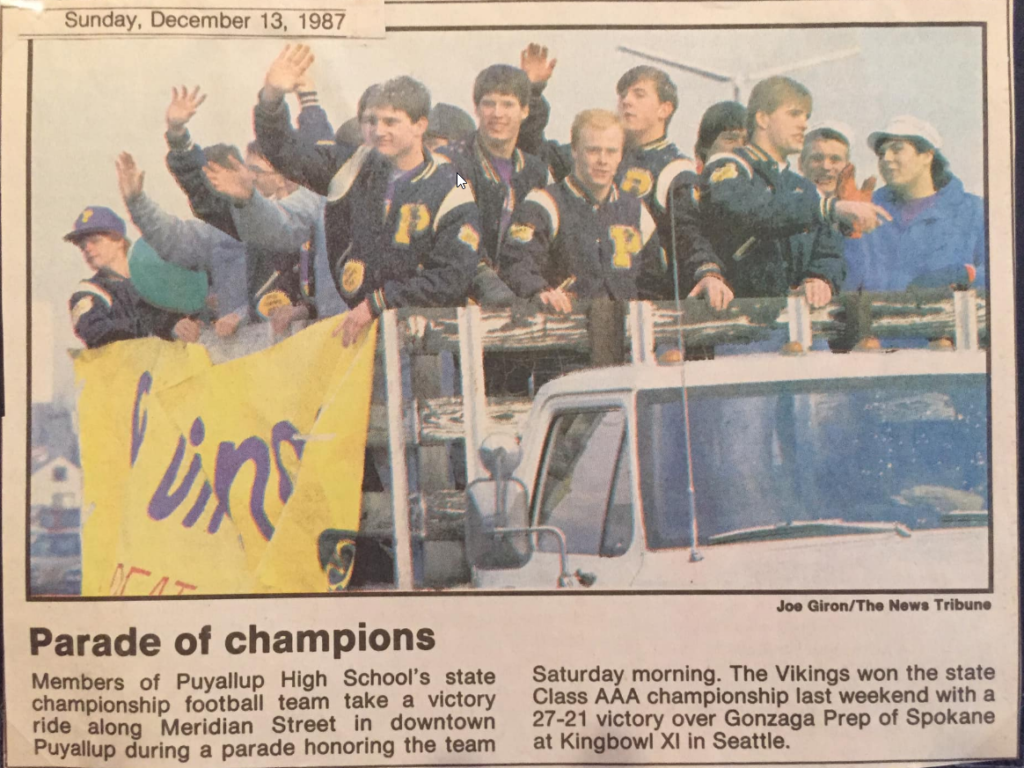 Puyallup High School Football celebrate the championship 1987